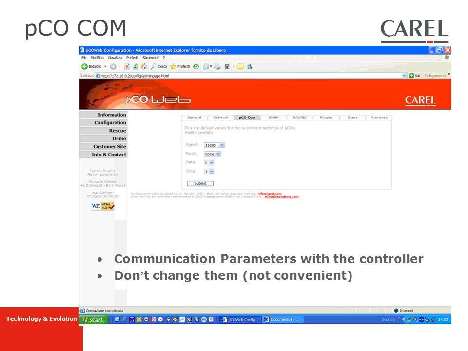 pCO COM Communication Parameters with the controller