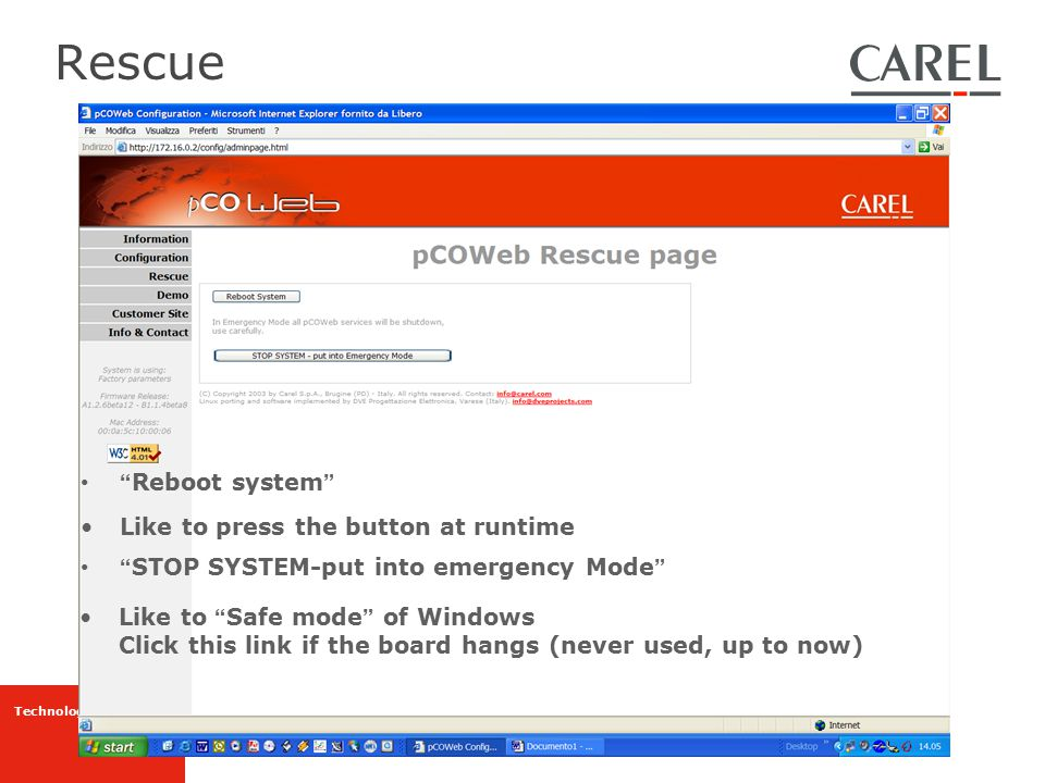 Rescue Reboot system Like to press the button at runtime