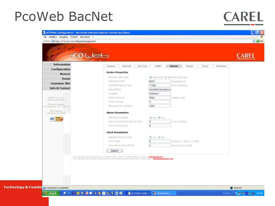 PcoWeb BacNet