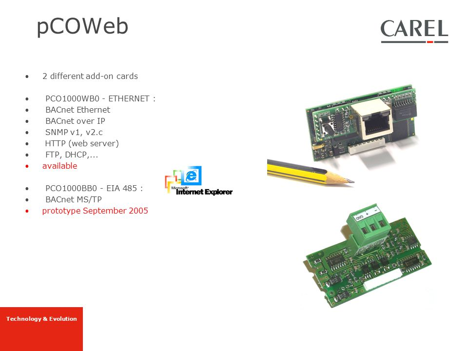 pCOWeb 2 different add-on cards PCO1000WB0 - ETHERNET :