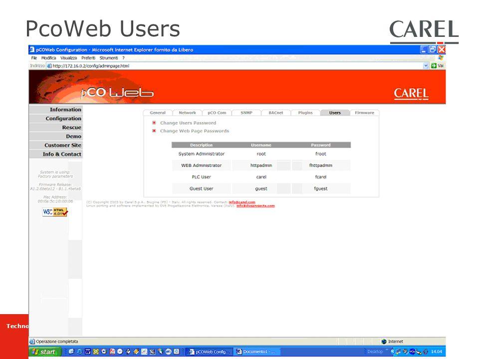 PcoWeb Users
