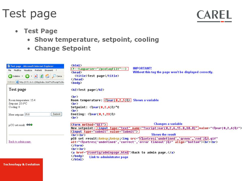 Test page Test Page Show temperature, setpoint, cooling