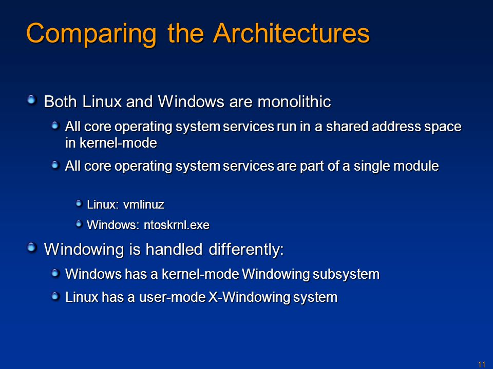 Comparing the Architectures