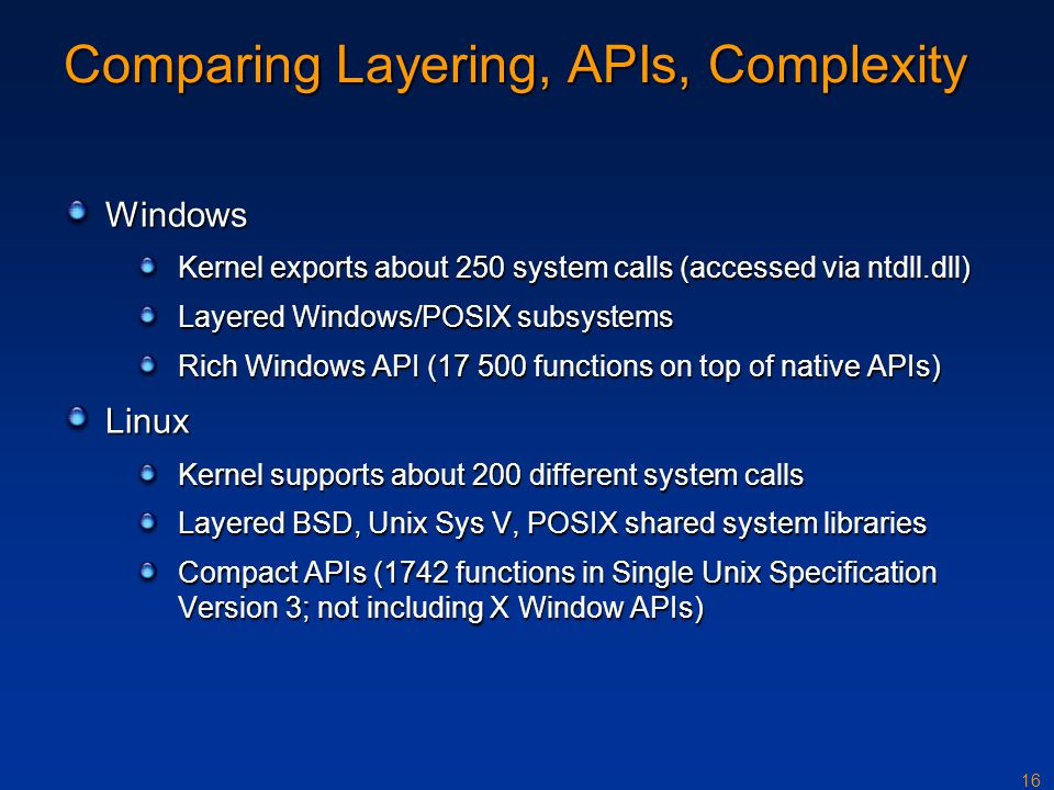 Comparing Layering, APIs, Complexity