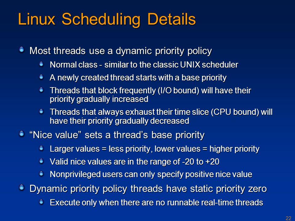 Linux Scheduling Details