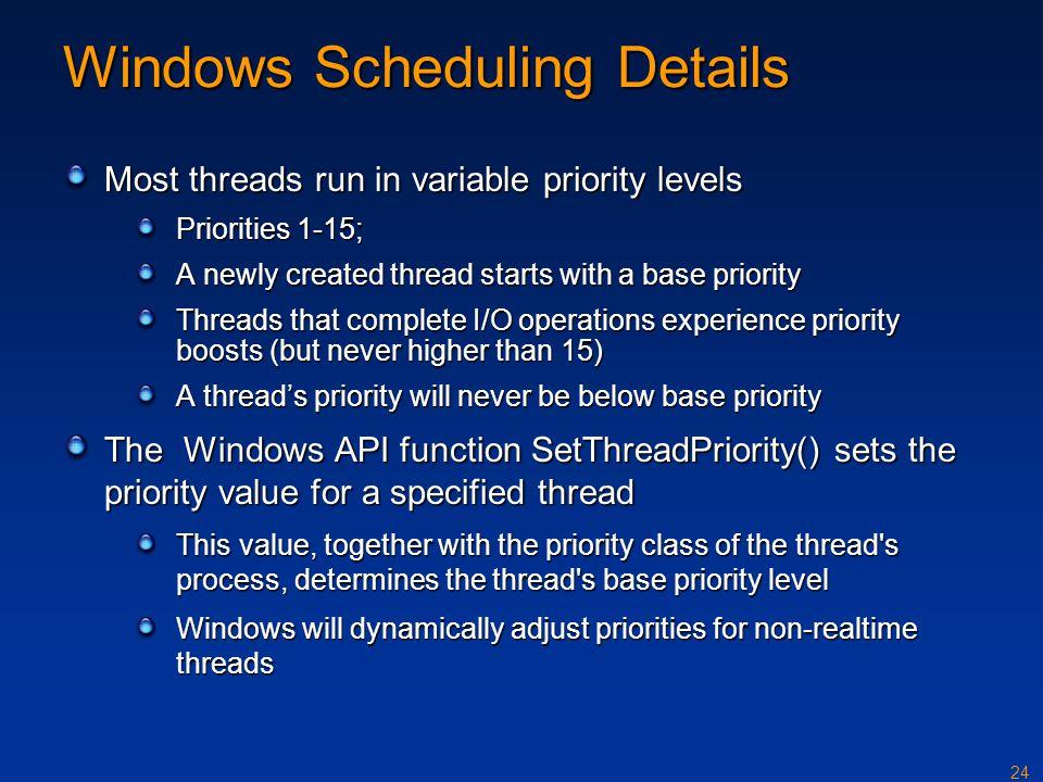 Windows Scheduling Details