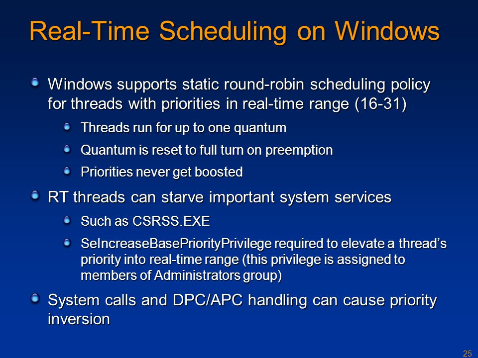 Real-Time Scheduling on Windows