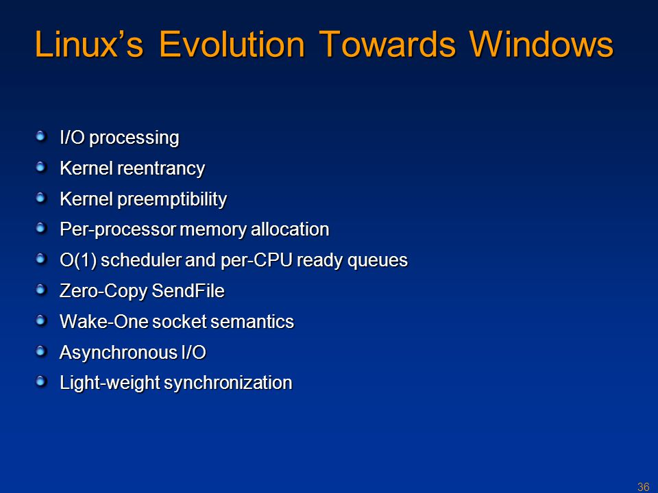 Linux's Evolution Towards Windows