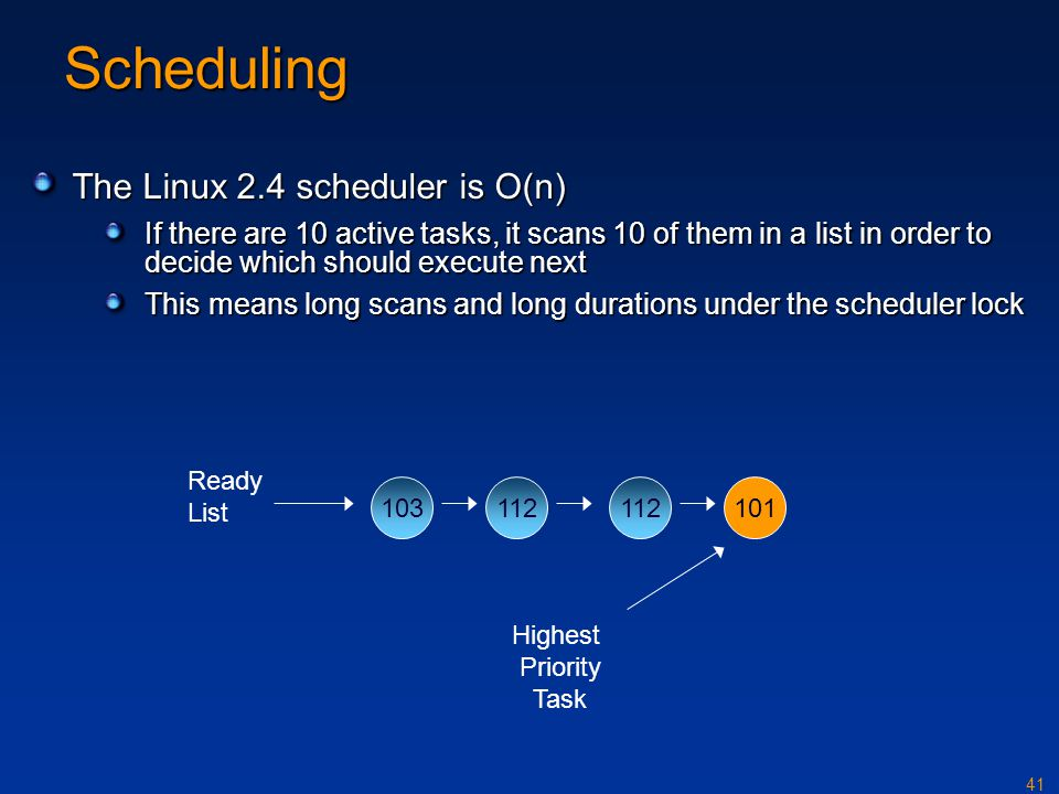 Scheduling The Linux 2.4 scheduler is O(n)