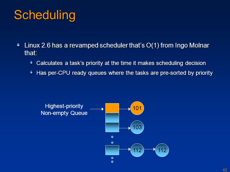 Scheduling Linux 2.6 has a revamped scheduler that's O(1) from Ingo Molnar that: