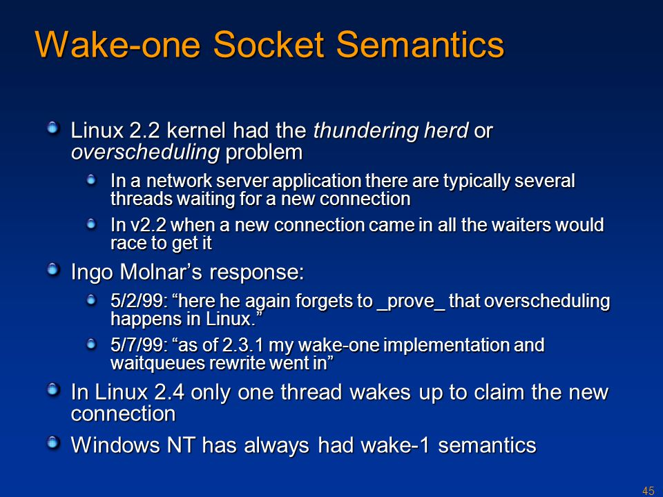 Wake-one Socket Semantics