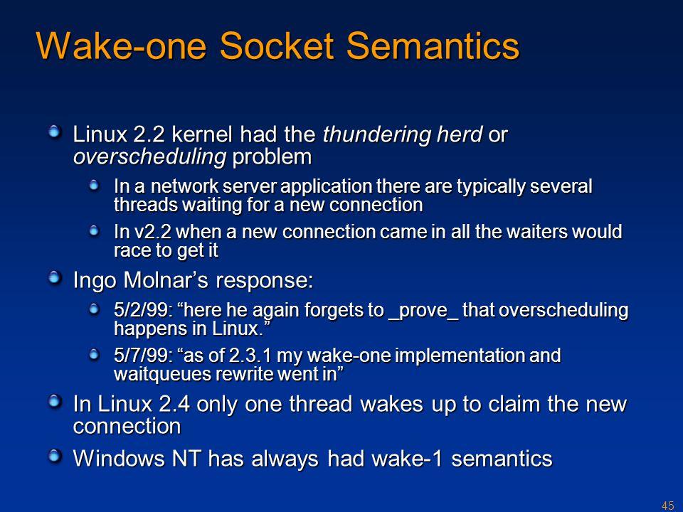 Wake-one Socket Semantics