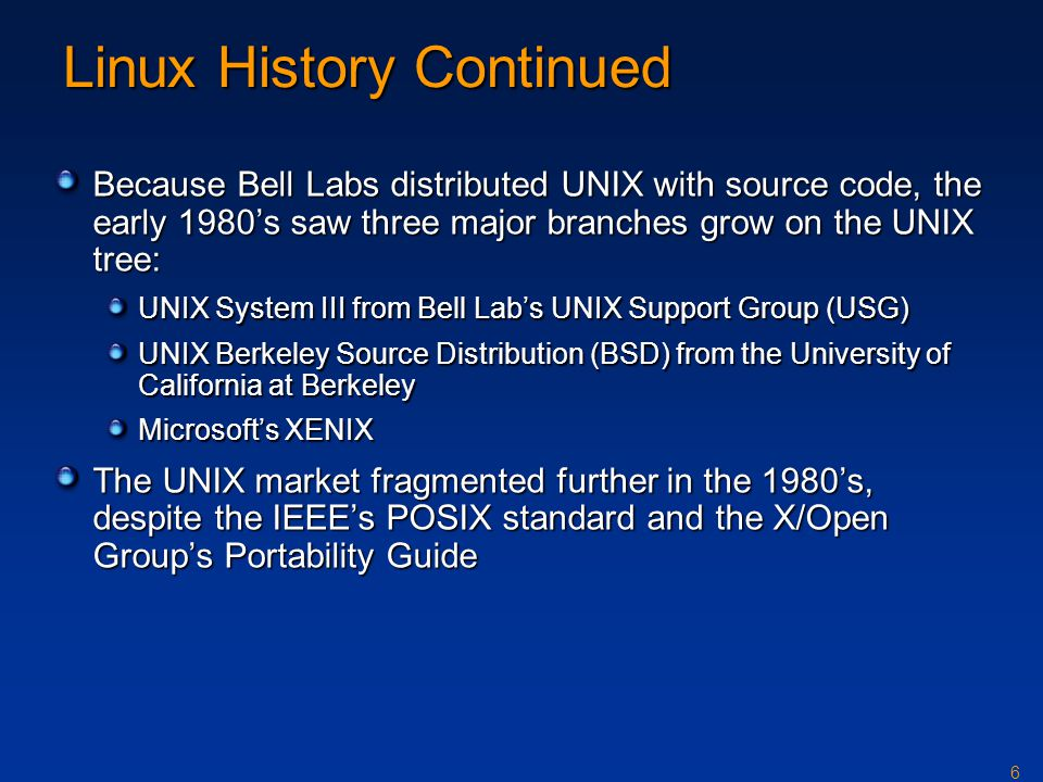 Linux History Continued