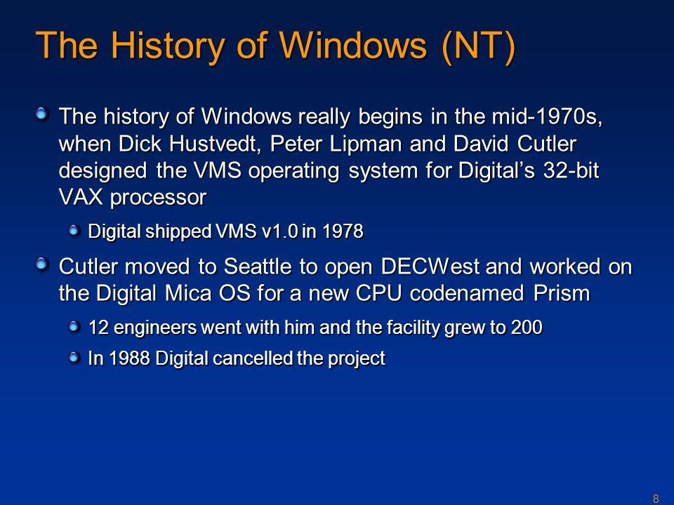 The History of Windows (NT)