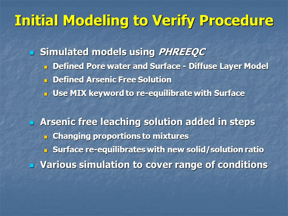 Initial Modeling to Verify Procedure