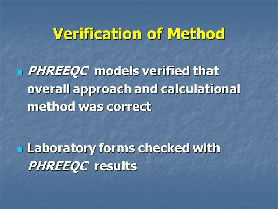 Verification of Method