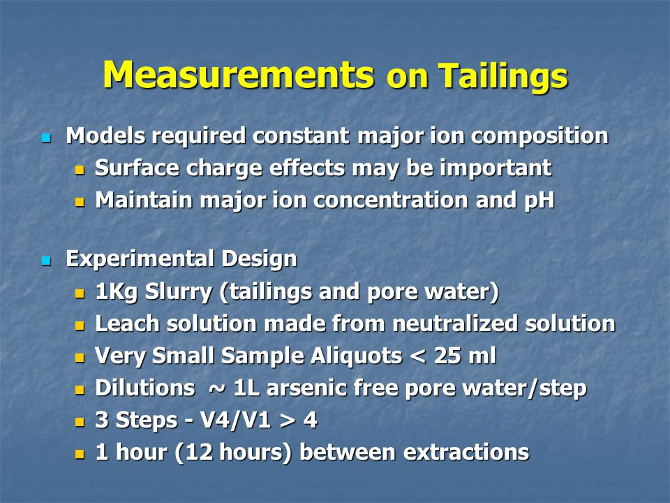 Measurements on Tailings