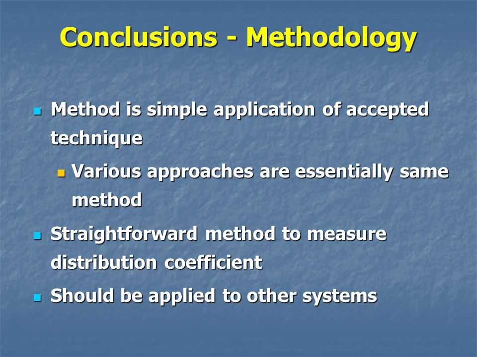 Conclusions - Methodology