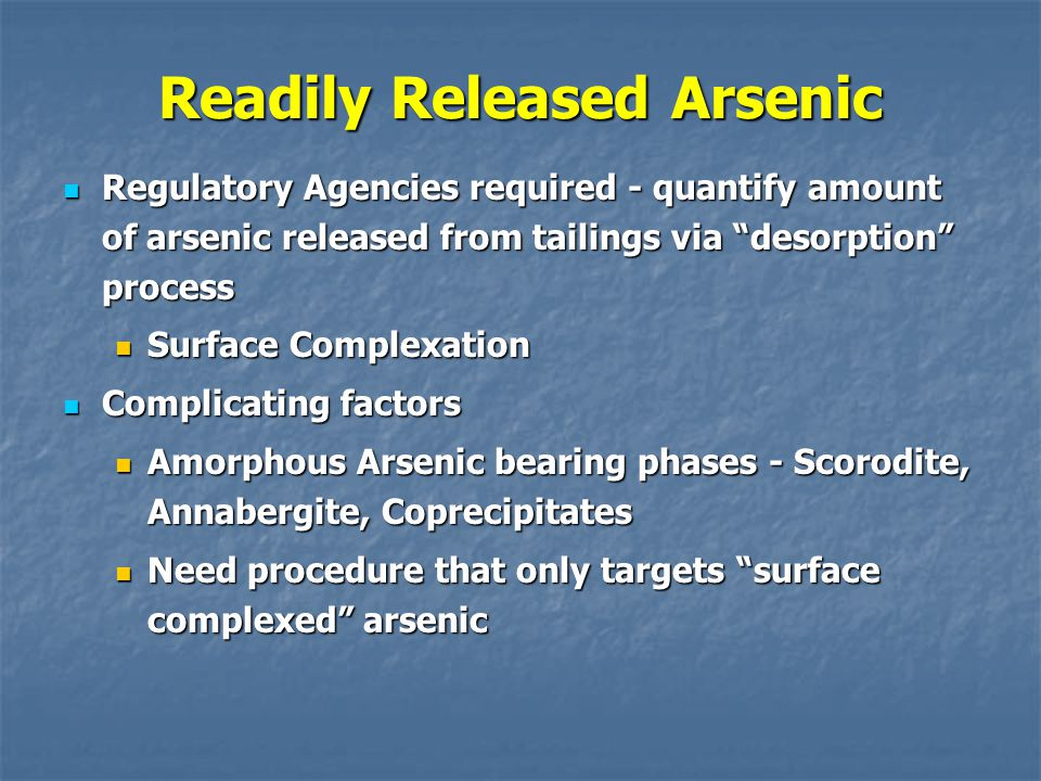 Readily Released Arsenic