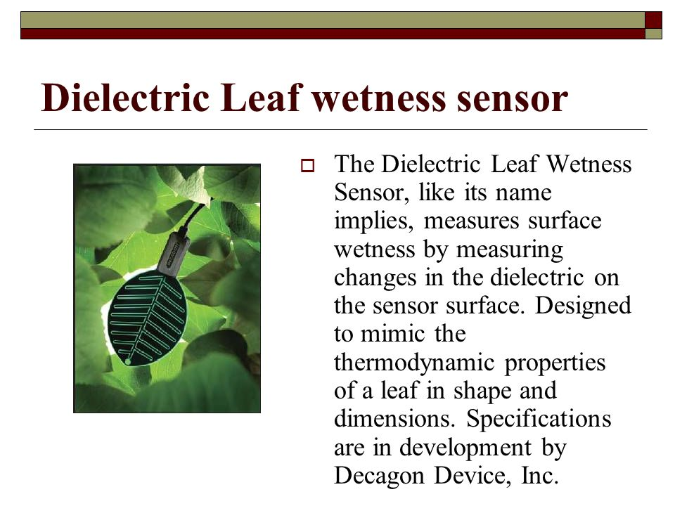 Dielectric Leaf wetness sensor