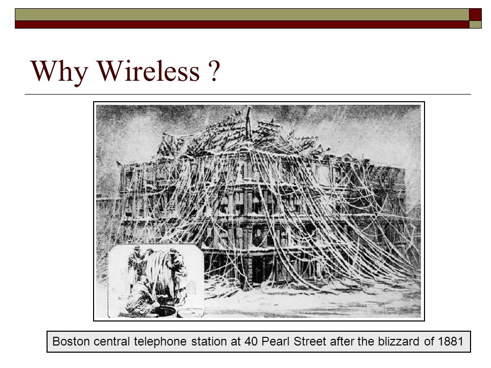 Why Wireless Boston central telephone station at 40 Pearl Street after the blizzard of 1881
