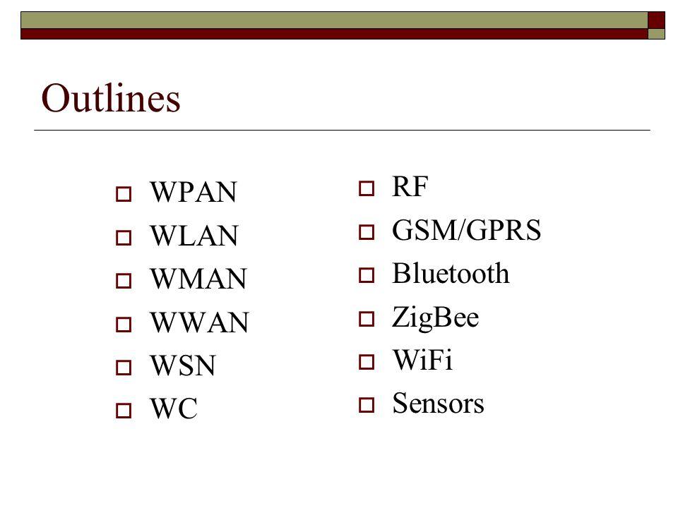 Outlines RF WPAN GSM/GPRS WLAN Bluetooth WMAN ZigBee WWAN WiFi WSN