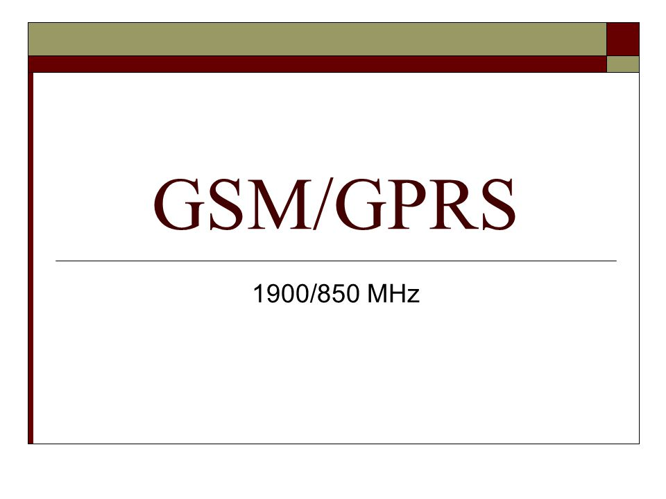 GSM/GPRS 1900/850 MHz