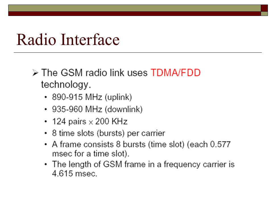 Radio Interface