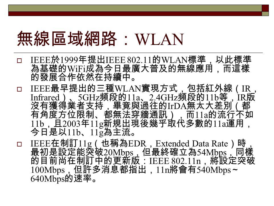 無線區域網路:WLAN IEEE於1999年提出IEEE 802.11的WLAN標準,以此標準為基礎的WiFi成為今日最廣大普及的無線應用,而這樣的發展合作依然在持續中。
