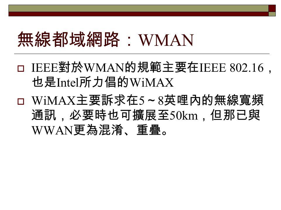 無線都域網路:WMAN IEEE對於WMAN的規範主要在IEEE 802.16,也是Intel所力倡的WiMAX