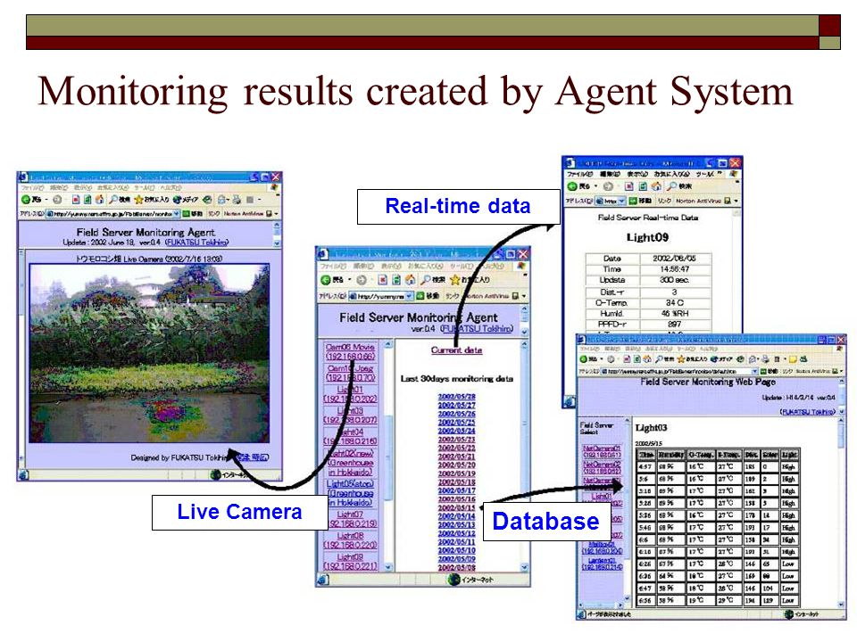 Monitoring results created by Agent System