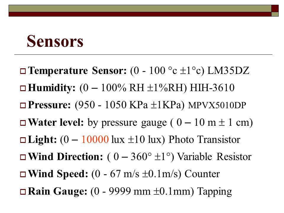 Sensors Temperature Sensor: (0 - 100 c 1c) LM35DZ