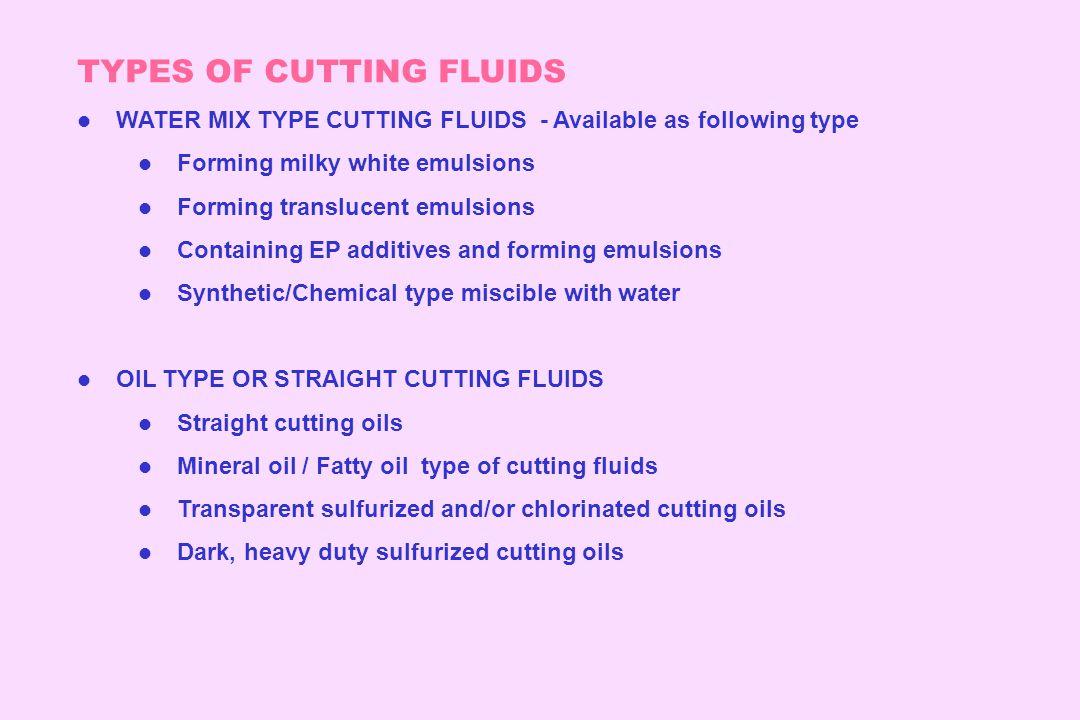TYPES OF CUTTING FLUIDS
