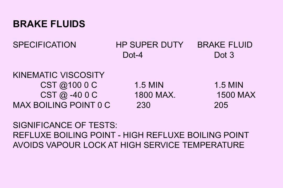 BRAKE FLUIDS SPECIFICATION HP SUPER DUTY BRAKE FLUID Dot-4 Dot 3
