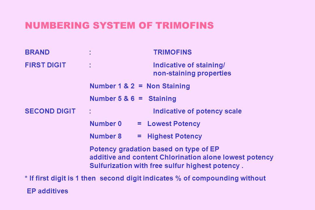 NUMBERING SYSTEM OF TRIMOFINS