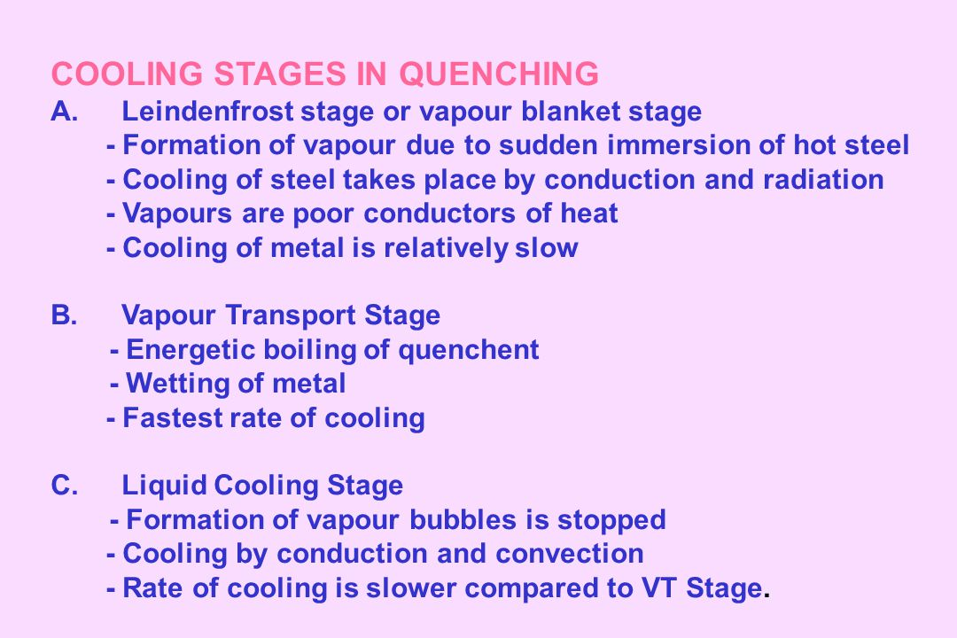 COOLING STAGES IN QUENCHING