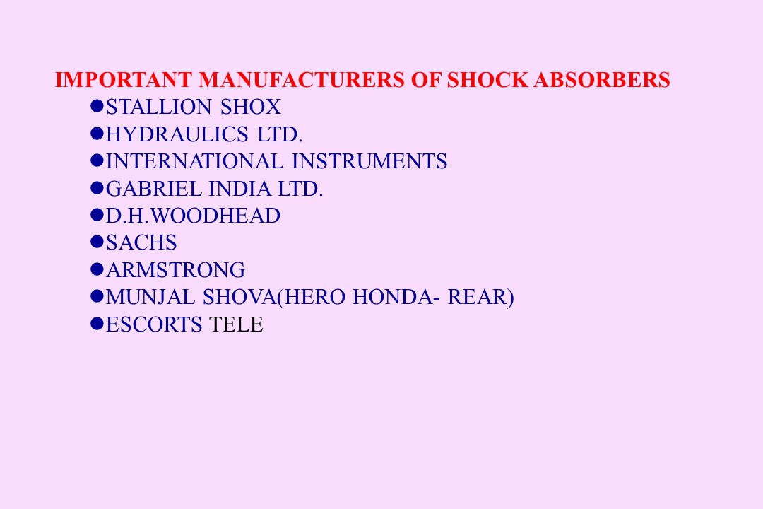 IMPORTANT MANUFACTURERS OF SHOCK ABSORBERS
