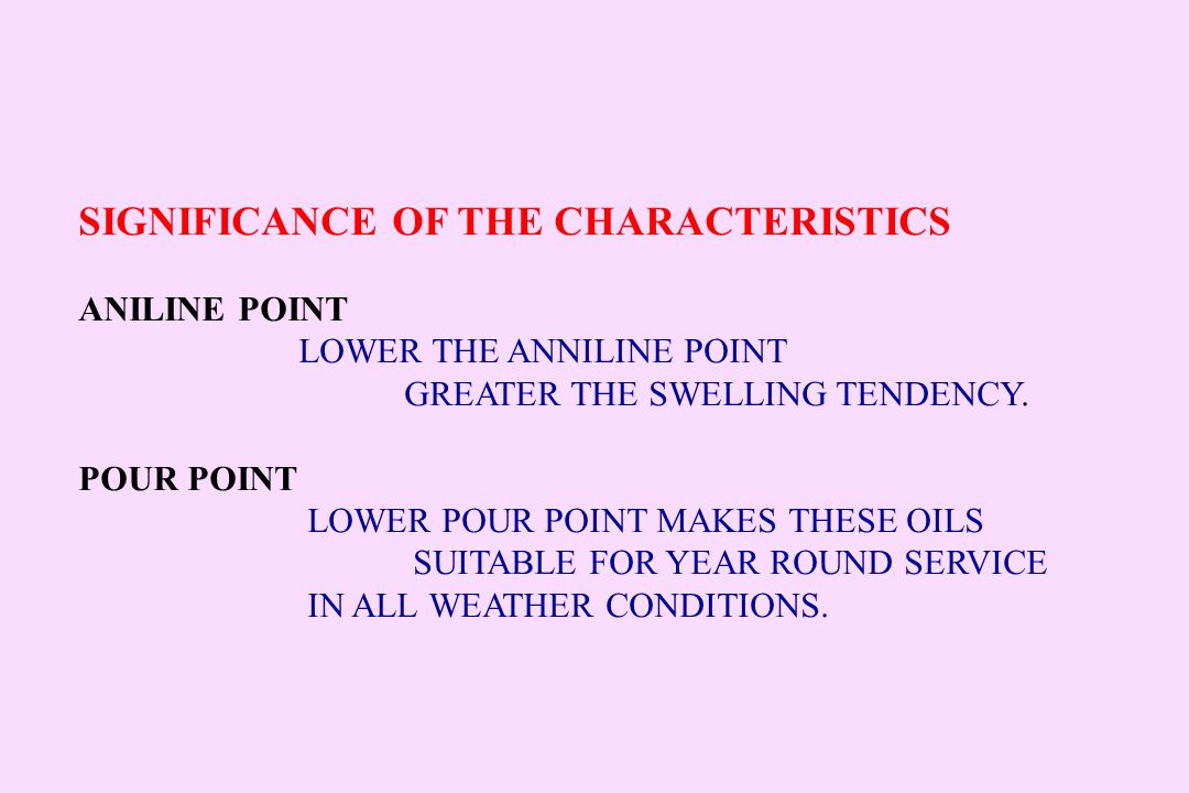 SIGNIFICANCE OF THE CHARACTERISTICS