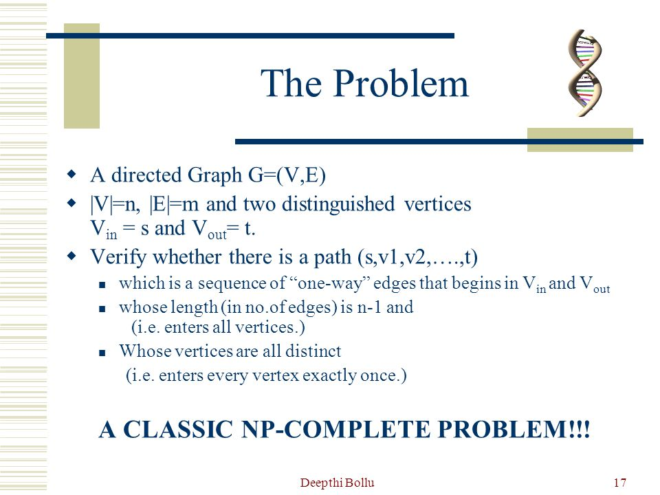 The Problem A CLASSIC NP-COMPLETE PROBLEM!!! A directed Graph G=(V,E)