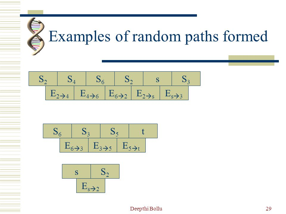 Examples of random paths formed