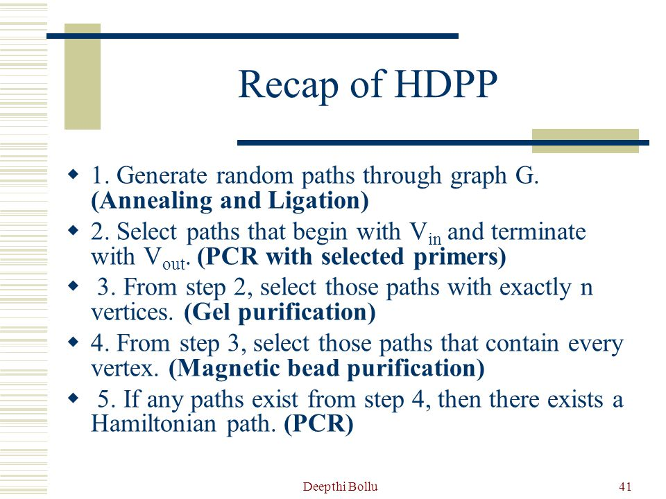 Recap of HDPP 1. Generate random paths through graph G. (Annealing and Ligation)
