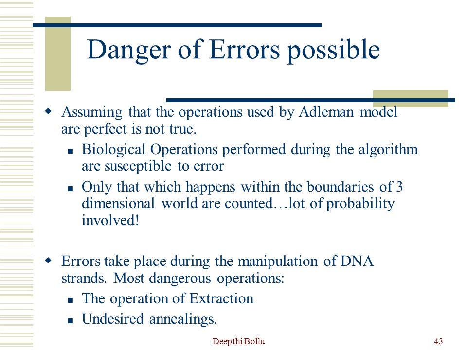 Danger of Errors possible