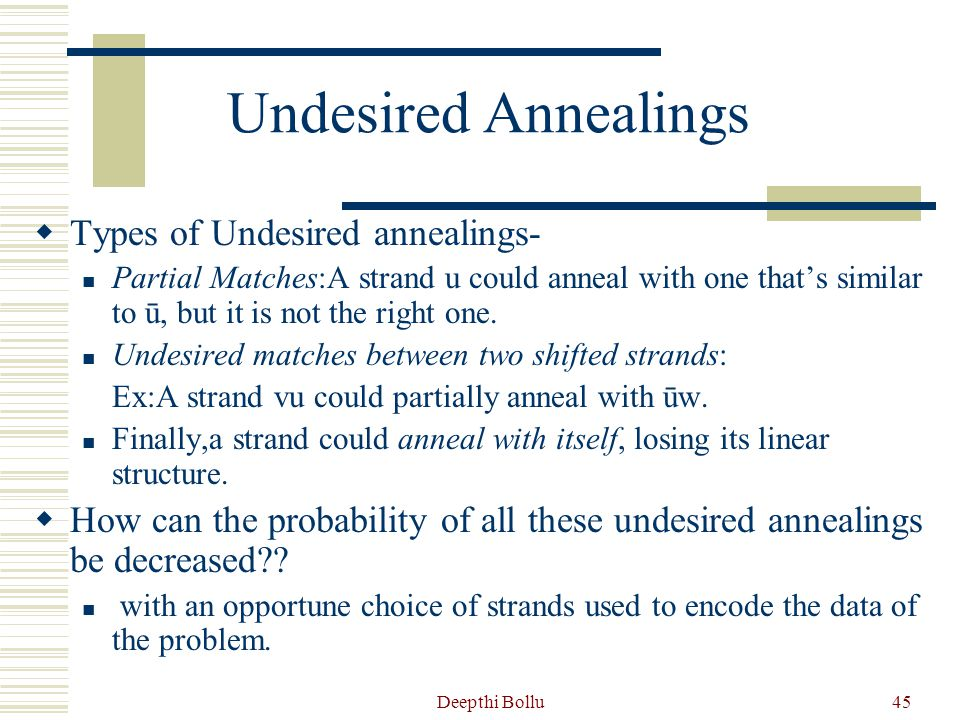 Undesired Annealings Types of Undesired annealings-