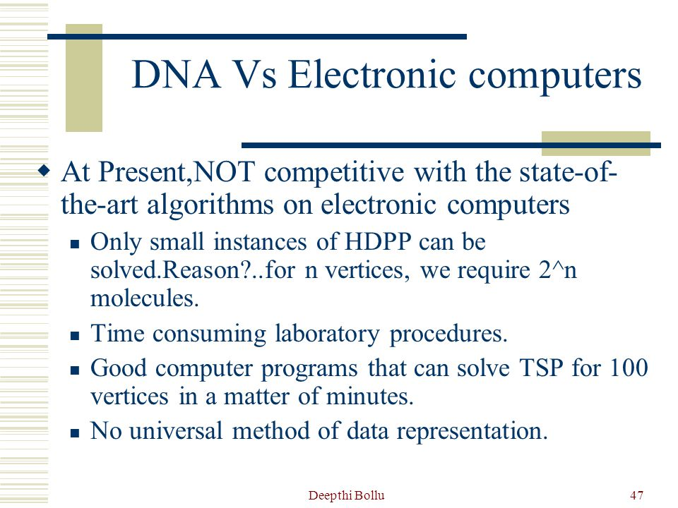 DNA Vs Electronic computers