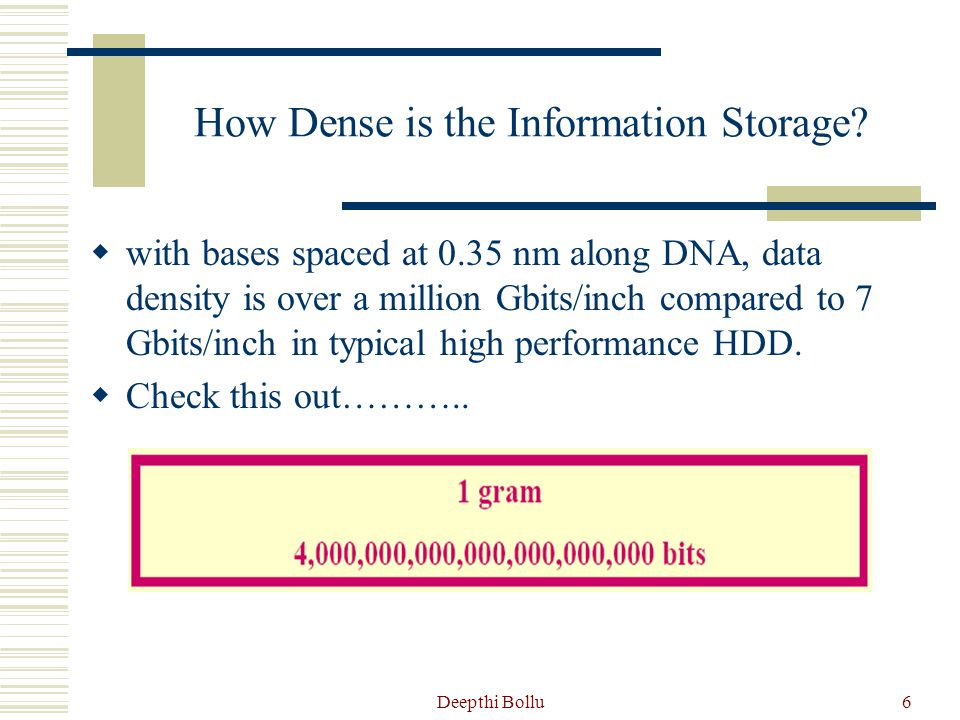 How Dense is the Information Storage