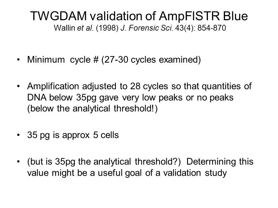 TWGDAM validation of AmpFlSTR Blue Wallin et al. (1998) J. Forensic Sci. 43(4): 854-870