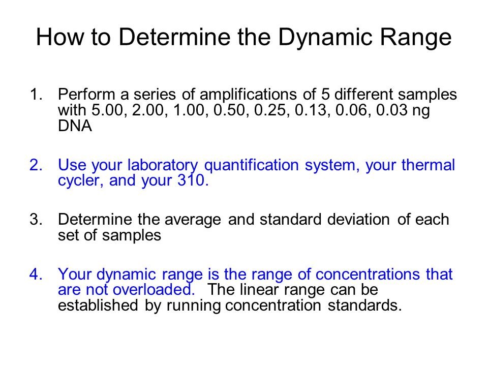 How to Determine the Dynamic Range