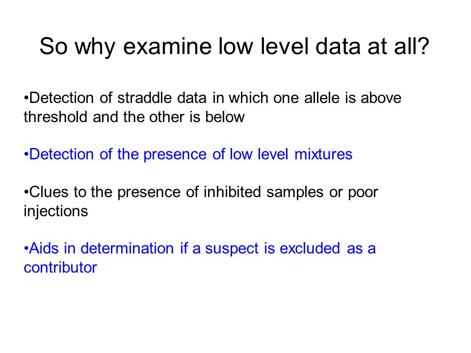 So why examine low level data at all