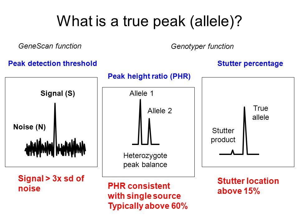What is a true peak (allele)
