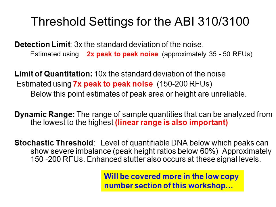 Threshold Settings for the ABI 310/3100